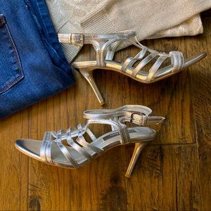 WHBM - Silver Strappy Mid Heels